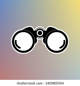 Binocular sign illustration. Black icon in white shell at pastel color background. Illustration.