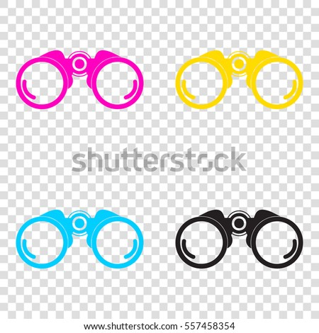 ce3f8b970a42 Binocular Sign Illustration CMYK Icons On Stock Vector (Royalty Free ...