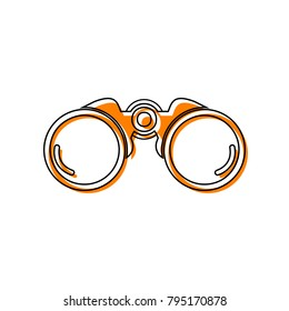 Binocular sign illustration. Vector. Black line icon with shifted flat orange filled icon on white background. Isolated.