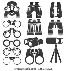 binocular, spyglass icons set