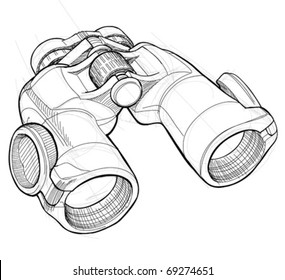 Binoculars - black and white sketch