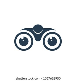 Binoculars and eyes on white background. Vision icon design.