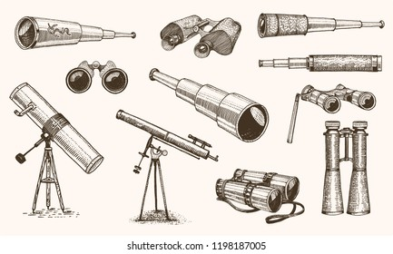 Binoculars or field glasses. Military set. vintage telescopes and optical equipment. engraved hand drawn old line icon. retro sketch style. Concept of active travel, exploration, discovery.