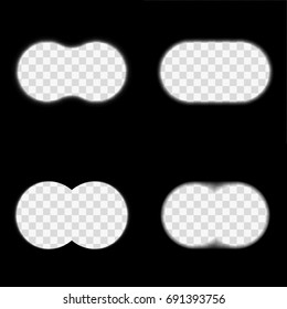 Binoculars field of view vector set. Sight through binoculars of different type. Inside binoculars illustration with blurred edges, design elements or templates collection. Spy, search or observation.
