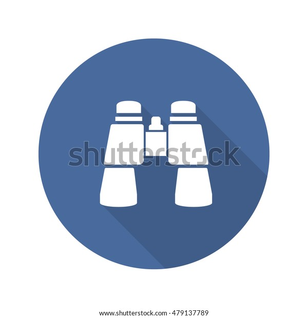 Binoculars flat design long shadow icon. Vector silhouette symbol