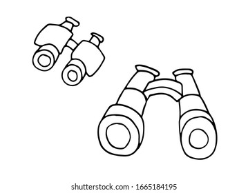 Binoculars hand drawn outline doodle icon. Optical spy search equipment for hiking, camping concept. Vector sketch illustration for print, web, mobile and infographics on white background.