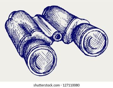 Binoculars Icon. Doodle style