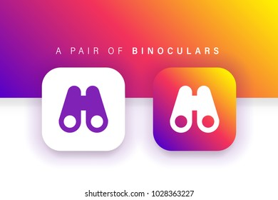 Binoculars Icon. Find icon. Zoom icon. Square contained. Use for brand logo, application, ux-ui, user interface experience, web, Colorful design. Compatible with jpg, png, eps, cdr, svg, pdf, ico, gif