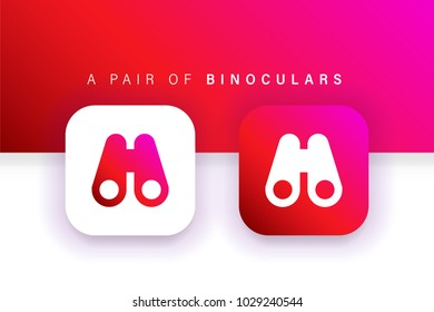 Binoculars Icon. Find icon. Zoom icon. Square contained. Use for brand logo, application, ux-ui, user interface experience, web, Red design. Compatible with jpg, png, eps, cdr, svg, pdf, ico, gif.