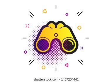 Binoculars icon. Halftone dots pattern. Find software sign. Spy equipment symbol. Classic flat binoculars icon. Vector