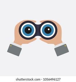 Binoculars icon, vector, zoom