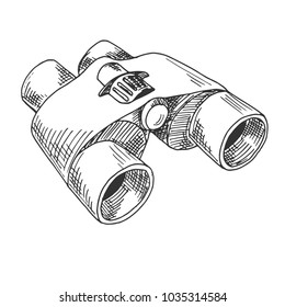 Binoculars isolated on white background. Vector illustration of a sketch style.