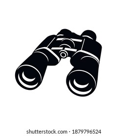binoculars isolated on a white background. Silhouette of black binoculars. vector illustration in flat style