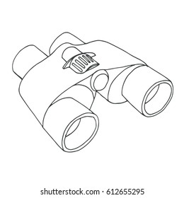 Binoculars isolated on white background. Vector illustration of a sketch style. Linear icon.