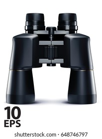 Binoculars isolated on white. Vector 3d illustration