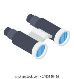 Binoculars in isometric icon design
