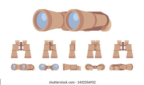 Binoculars optical instrument set. Glass lenses for viewing distant objects, to make a prognosis, research future. Vector flat style cartoon illustration isolated on white background, different views