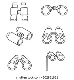 binoculars set. optical instruments, linear symbols collection