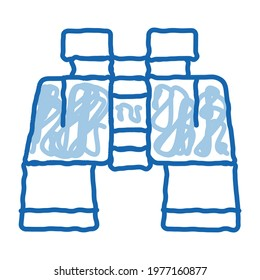 Binoculars sketch icon vector. Hand drawn blue doodle line art Binoculars sign. isolated symbol illustration