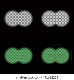 Binoculars view vector set. Soft edge transparent frame with crosshairs and night vision.