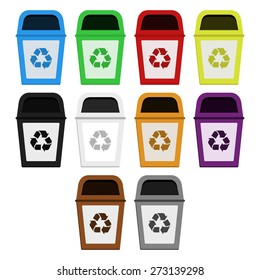 Bins of selective collection. Colored bins for selective collection of paper, plastic, glass, metal, wood, medical waste, radioactive waste, organic waste