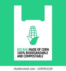 Bio Bag made of corn. Design for organic bag. 100% biodegradable and compostable. Plastic free.