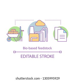Bio based feedstocks concept icon. Biomass energy idea thin line illustration. Biorefinery. Manufacturing, production. Vector isolated outline drawing. Editable stroke