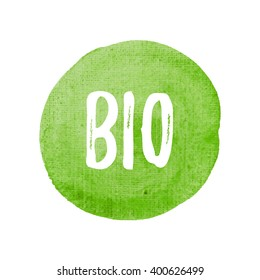 Bio card, poster, logo, written on watercolor green background illustration
