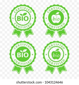 bio certified batch labels set. bio food, cosmetics packaging sticker set