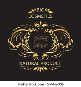 BIO COSMETICS. Label. Hand drawn  labels for beauty and cosmetics. Vector illustrations for graphic design, for cosmetic products, natural products, skin care, makeup, beauty center, spa and wellness.