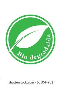 Bio degradable green vector sign symbol logo