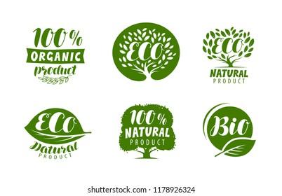 Bio, eco logo or label. Natural, organic product, vector badges set