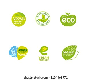 Bio, ecology, organic symbols and signs. Hand drawn emblems for healthy food and drink. Logotypes for vegetarian menu restaurant. Vector illustration.