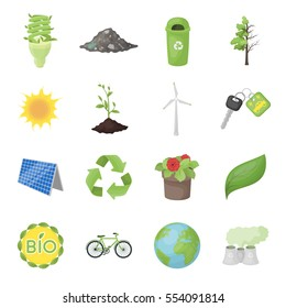 Bio and ecology set icons in cartoon style. Big collection of bio and ecology vector symbol stock illustration