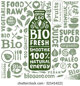 Bio energy drink packaging template with set of labels and icons for organic and natural food
