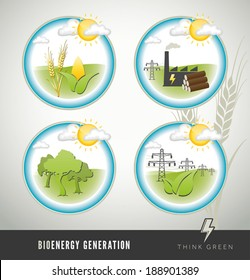 Bio energy and power generation icons