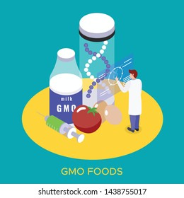 Bio engineering gmo products research lab isometric composition with genetically modified food milk eggs background vector illustration