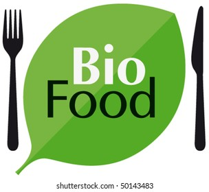 BIO FOOD with cutlery and leaf
