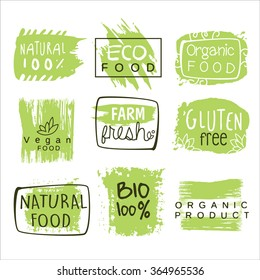 Bio Food Green Lables. Vector Illustration Collection
