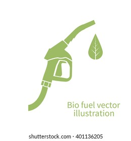 Bio fuel icon. Green eco fuel pump. Petrol station sign. Vector illustration. Ecological fuel concept. Gas station sign, logo.
