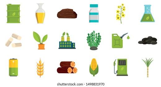 Bio fuel icons set. Flat set of bio fuel vector icons for web design