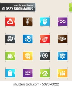 BIO Fuel industry icons for your design glossy bookmarks