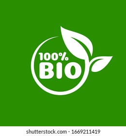 Bio Green organic leaf of a tree, icon on a white background. Vector illustration