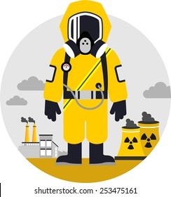 Bio hazard protection concept. Man in protective suit and gas mask on pollution background