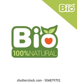 Bio label or badge with leaves for organic, natural, bio and eco product isolated on white background. Creative vector logo design.
