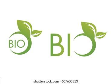 Bio logos with leaf