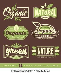 Bio, natural, ecology, organic logos and symbols, labels, tags. Organic healthy food signs, set of raw, vegan, healthy food labels, stickers and design elements.