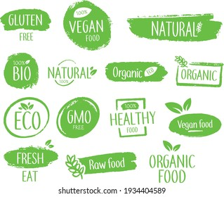Bio natural product emblems or icon vector