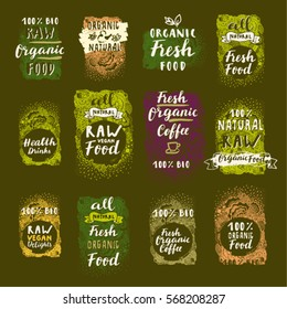 Bio Organic Fresh Coffee, Natural Food, Raw Vegan Food. Vector hand drawn restaurant, cafe, bakery menu labels, badges, stickers, logos, banners, icons with awesome zen inspired doodle background