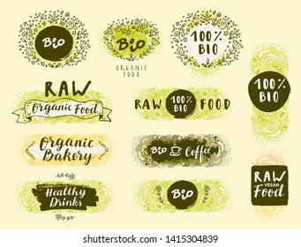 Bio Organic Fresh Natural Coffee, Food, Raw Vegan Delights. Handdrawn restaurant, cafe, bakery menu labels, badges, stickers, logos, banners, posters with awesome zen inspired doodle background